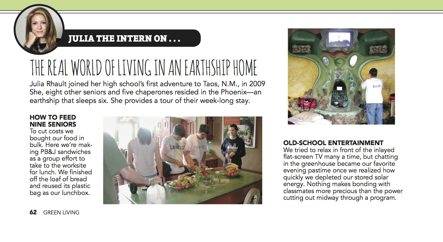 GREEN LIVING_page62 Earthship Featurette